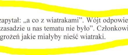 """Radny Banaszek pyta: Co z wiatrakami? Wójt odpowiada, że """"u nas tematu nie było…"""""""