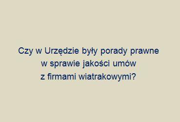 Czy radca prawny zatrudniony w gminie Garbów udzielał porad lub konsultacji w sprawie jakości umów z firmami wiatrakowymi?