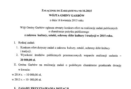 Konkurs ofert na realizację zadań o charakterze pożytku publicznego z zakresu kultury. Do podziału 20 tys. zł., czas składania ofert do 11 maja 2015 r.