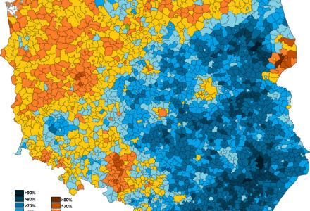 Jak głosowały gminy? Bardzo ciekawa mapa [wyborynamapie.pl]