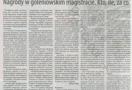 Władze Goleniowa jakie pierwsze w Polsce ujawniły pełne informacje o nagrodach urzędników
