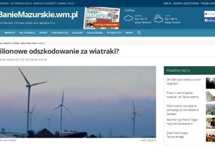 Mieszkańcy Dąbrówki Polskiej i Bań Mazurskich domagają się od Gminy odszkodowania za postawienie wiatraków