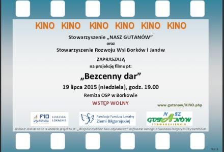 """""""Mobilne Kino"""" w Borkowie, 19 lipca 2015, godz. 19.00 – Szkoła"""
