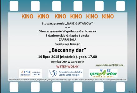 """""""Mobilne Kino"""" w Garbowie. 19 lipca 2015, godz. 17 – Dom Strażaka"""