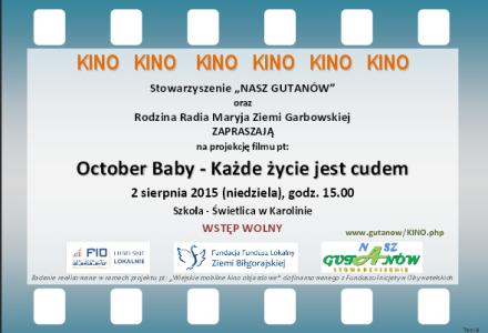 """""""Mobilne Kino"""" w Karolinie – niedziela 2 sierpnia 2015 r. godz. 15.00"""