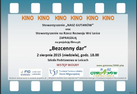 """""""Mobilne Kino"""" w Leścach – niedziela 2 sierpnia 2015 r., godz. 18.00"""