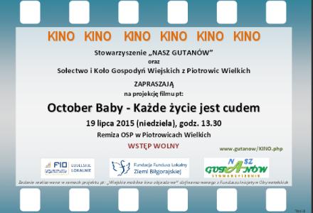 """""""Mobilne Kino"""" w Piotrowicach Wielkich, 19 lipca 2015, godz. 13.30 – Remiza OSP"""