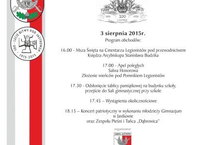 100. Rocznica bitwy pod Jastkowem – poniedziałek, 3 sierpnia 2015 r.