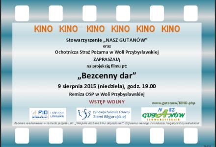 """""""Mobilne Kino"""" w Woli Przybysławskiej – niedziela 9 sierpnia godz. 19.00, Serdecznie zapraszamy"""