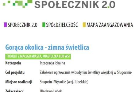 """Sługocin i Wysokie – projekt """"Gorąca okolica – zimna świetlica"""" w ramach inicjatywy SPOŁECZNIK 2.0"""