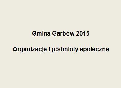Gmina Garbów – lista organizacji i podmiotów społecznych – 2016
