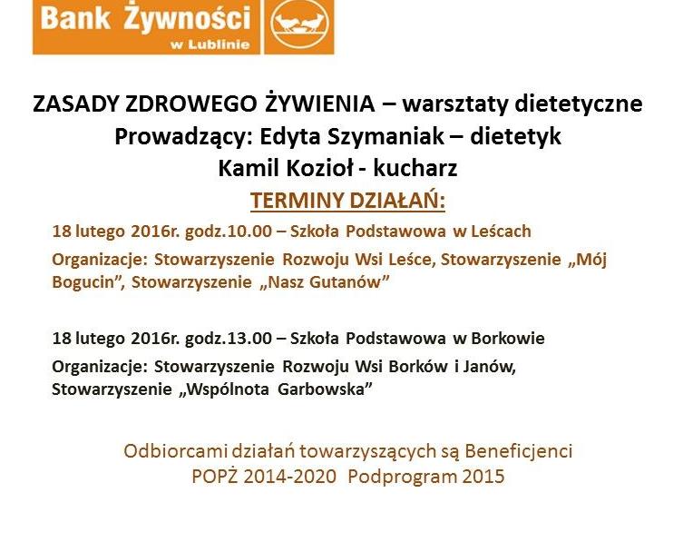 18 luty 2016 r. – warsztaty w Leścach i Borkowie dla osób korzystających z pomocy żywnościowej przekazanej przez Fundację Bank Żywności w Lublinie