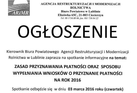 Zaproszenie na spotkanie w sprawie płatności bezpośrednich na rok 2016 – czwartek, 3 marca 2016 r. godz. 12.00, Biblioteka w Garbowie