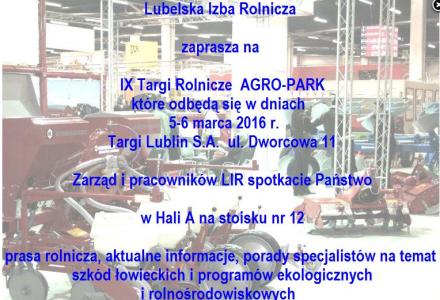 Zaproszenie na IX Targi Rolnicze AGRO-PARK w Lublinie, 5 – 6 marca 2016 r.