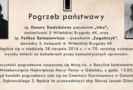 """28 sierpnia 2016 r. – pogrzeb """"Inki"""" i """"Zagończyka"""""""