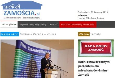 28 listopada 2016. wokolZAMOSCIA.pl – powstał kolejny zaprzyjaźniony gminny serwis obywatelski. Gratulacje!