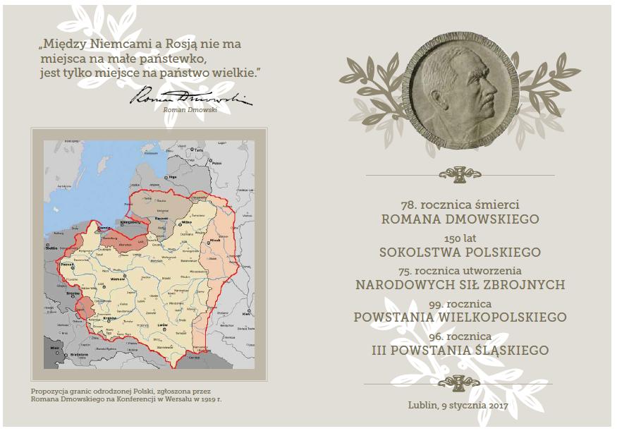Zaproszenie na obchody 78 rocznicy śmierci Romana Dmowskiego: Lublin, 9 stycznia 2017 r.