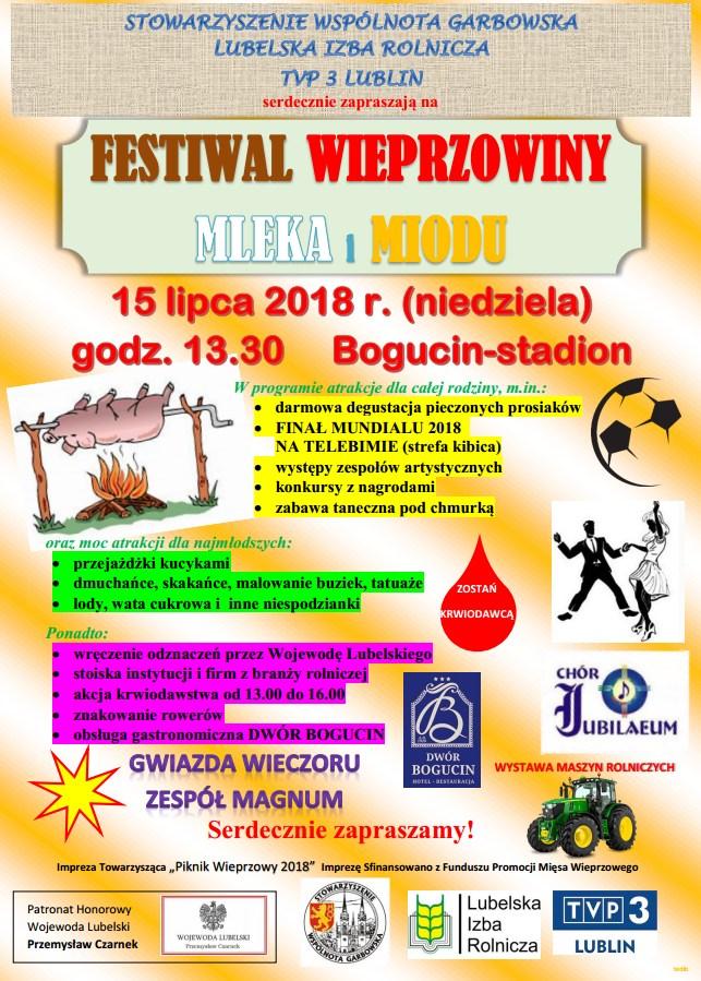 Zapraszamy na Festiwal Wieprzowiny, Mleka i Miodu, – Bogucin, Stadion BKS, niedziela 15 lipca 2018 r. godz. 13.30 – program oraz sponsorzy wydarzenia