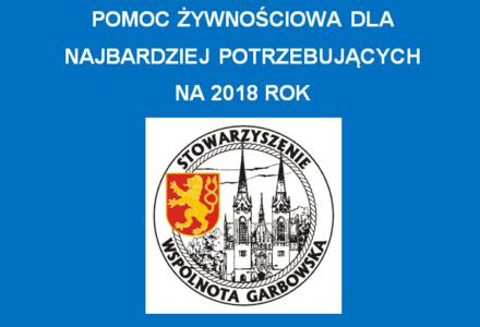 """Pomoc żywnościowa na 2018 r.! Stowarzyszenie """"Wspólnota Garbowska"""" przyjmuje skierowania w terminie do 21 września 2018 r."""