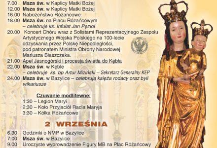 40. rocznica koronacji Figury Matki Bożej Kębelskiej, 1 – 2 września 2018 r. Program