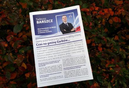 Poczta Polska rozpoczęła kolportaż drukowanej wersji wywiadu z Tadeuszem Barszczem kandydatem na wójta gminy Garbów.