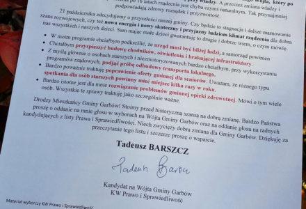 """List Tadeusza Barszcza do Wyborców. """"Szanowni Państwo, Mieszkańcy Gminy Garbów""""… [POLECAMY]"""