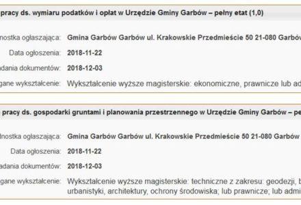 Uwaga! Nabory na stanowiska pracy w Urzędzie Gminy Garbów. Czekamy na wyniki pracy komisji.