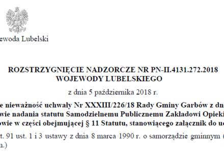 Garbowscy legislatorzy stawiają przepisy prawa miejscowego przed przepisami ustaw! Wojewoda Lubelski wydał rozstrzygnięcie nadzorcze skierowane do Wójta i Przewodniczącego Rady Gminy Garbów