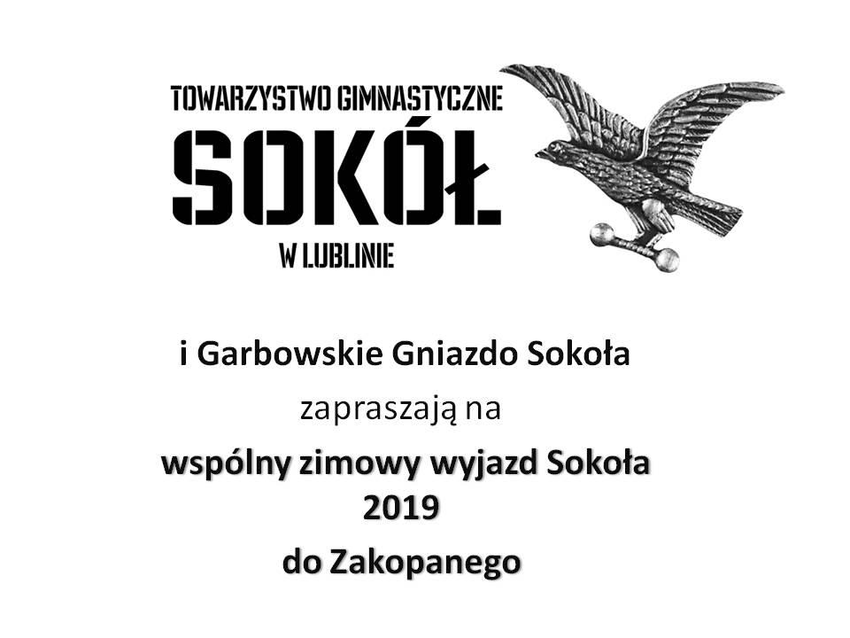 Zaproszenie na zimowy wyjazd Sokoła 2019 do Zakopanego: 10-16 lutego 2019 r.