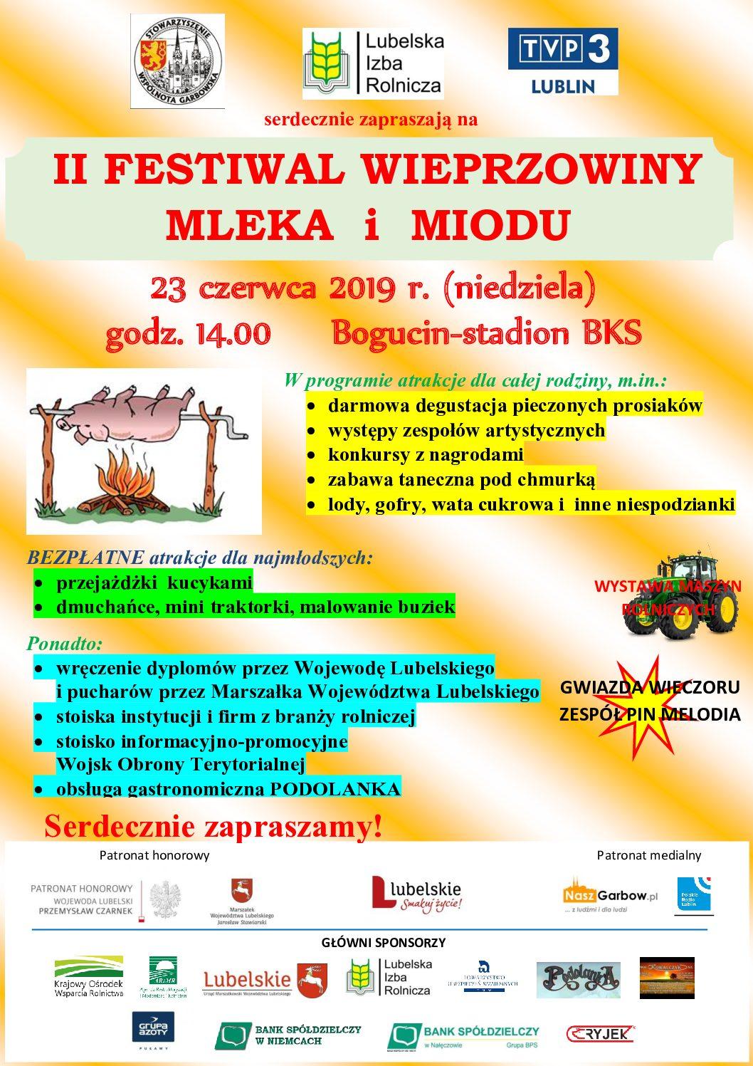Zaproszenie na II Festiwal Wieprzowiny Mleka i Miodu – niedziela 23 czerwca 2019 r., Bogucin, Stadion BKS