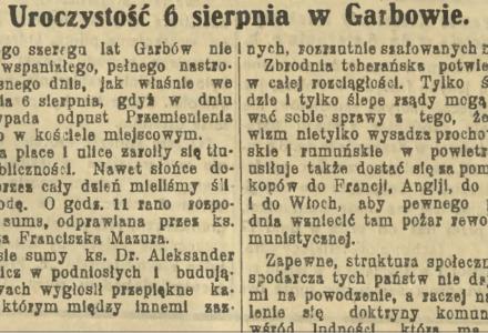 """Relacja z uroczystości 6 sierpnia 1924 r. w Garbowie w """"Głosie Lubelskim"""""""